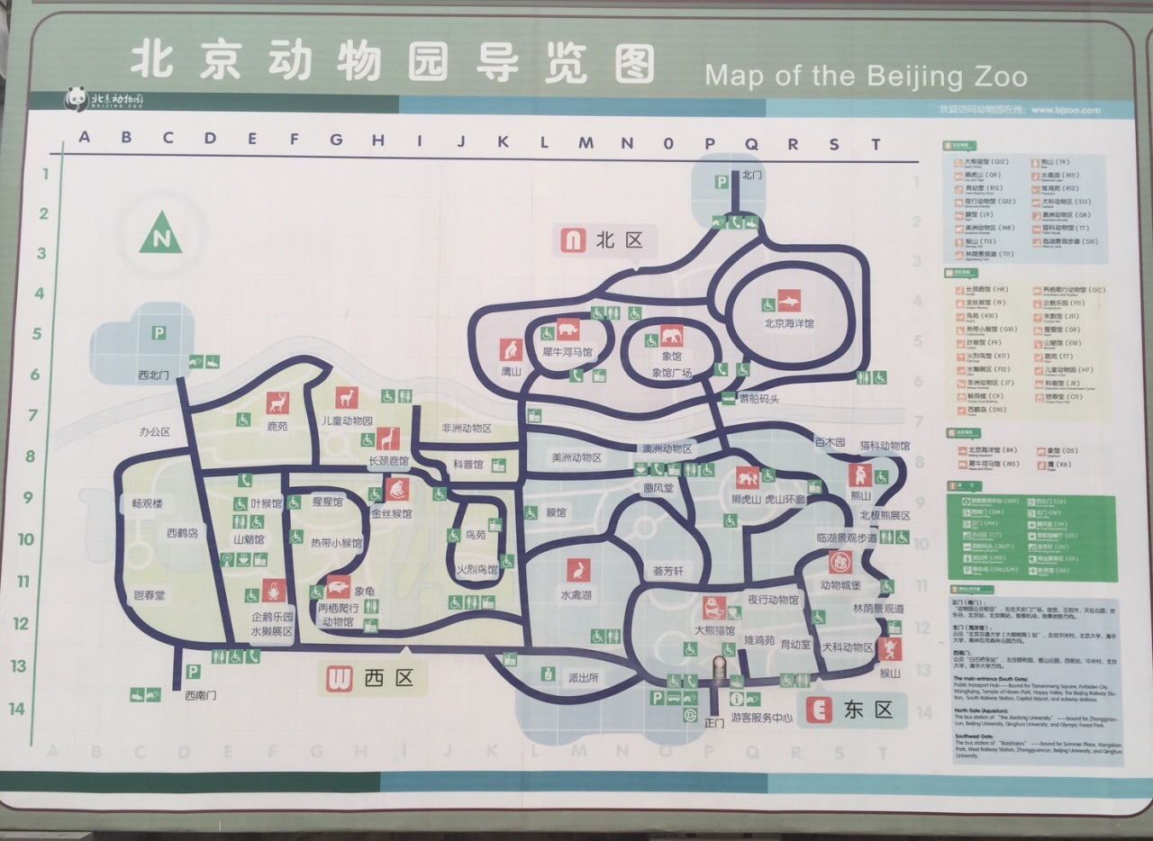 北京动物园位于北京市西城区西直门外大街,是中国规模最大、动物种类最全的城市动物园之一,从光绪三十二年至今已逾百年历史。动物园分为东、南、北三个区,正门位于东区,北区还设有北京海洋馆(需另外购票)。 珍贵动物 在此安家落户的有中国特产的珍贵动物大熊猫、金丝猴、东北虎、白唇鹿、麋鹿(四不像)、矮种马、丹顶鹤,还有来自世界各地有代表性的动物如非洲的黑猩猩、澳洲的袋鼠、美洲豹、墨西哥海牛、欧洲野牛等两栖爬虫馆分上、下两层楼,展出世界各地的爬行动物100 多种,其中有一种世界上最大的鳄鱼湾鳄。 可以参照公园内的指