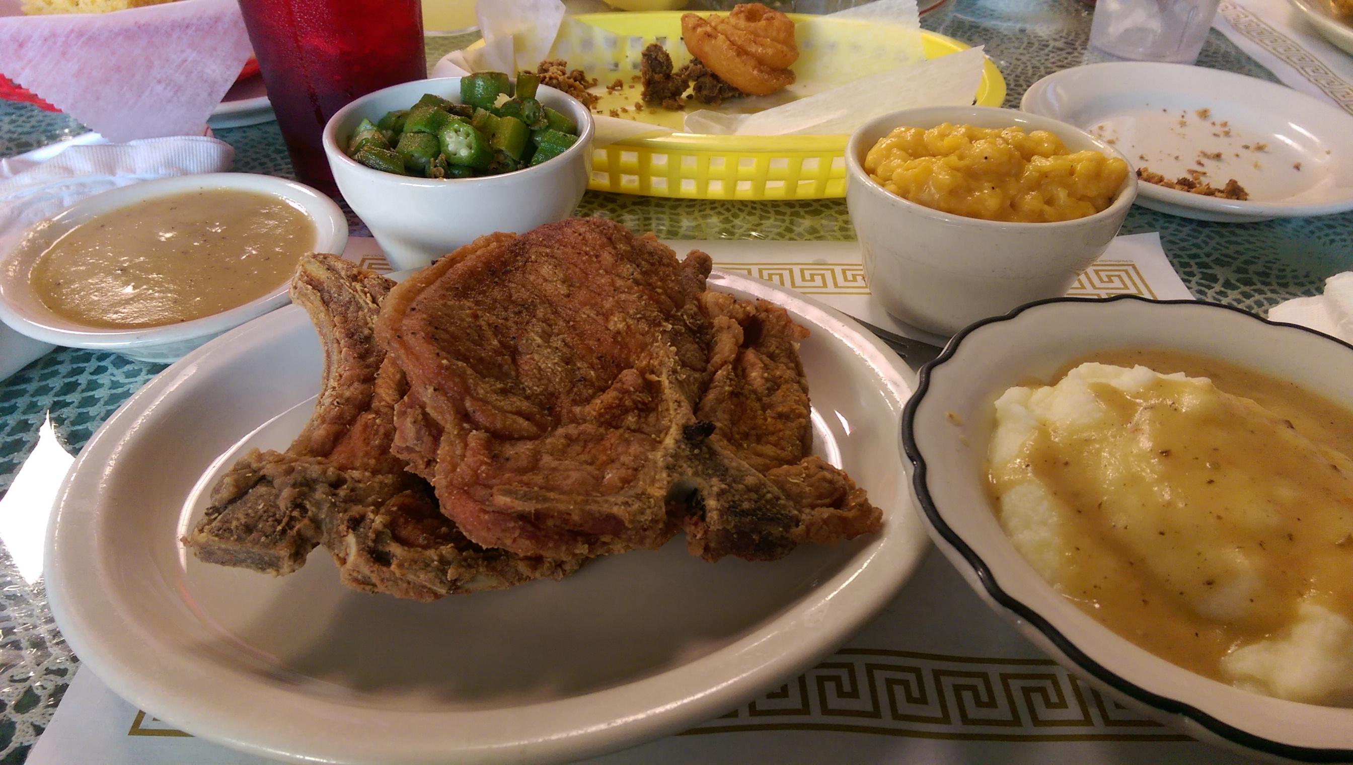 ��w�^��x�~x�n_pork chops w/okra, mashed potatoes&#x20
