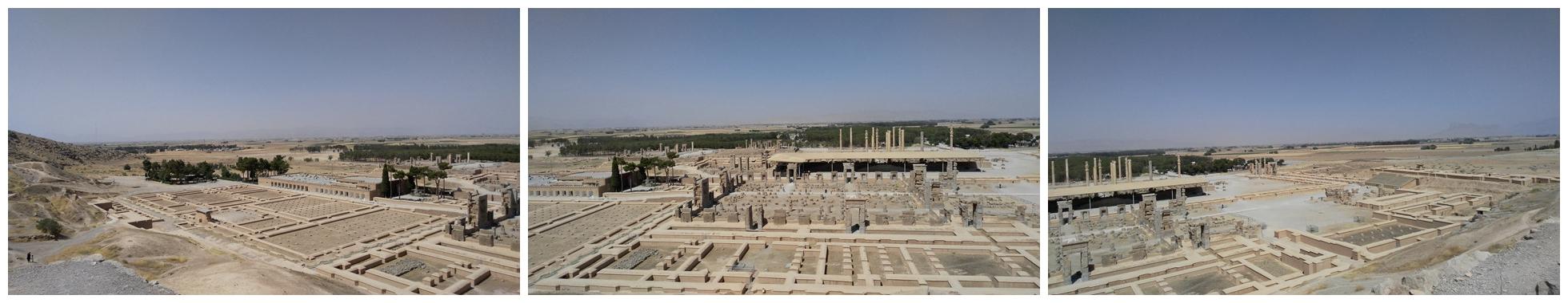 波斯波利斯,意思是波斯之都,伊朗人稱之為塔赫特賈姆希德,即賈姆希德御座,賈姆希德是古波斯語神話中王的名字。1979年被聯合國教科文組織列入世界文化遺產名錄,見証了古阿契美尼德帝國從興盛走向滅亡的歷史。東鄰庫拉馬特山,其余三面是城牆,城牆依山勢而高度不同。城內王宮建于石頭台基上,主要建築物包括大會廳、覲見廳、宮殿、寶庫、儲藏室等。全部建築用暗灰色大石塊建成,外表常飾以大理石。王宮西城牆北端有兩處龐大的石頭階梯,其東邊是國王薛西斯所建的四方之門。 過了檢票口,從台階上山,就可以看到雄偉的萬國之門,石