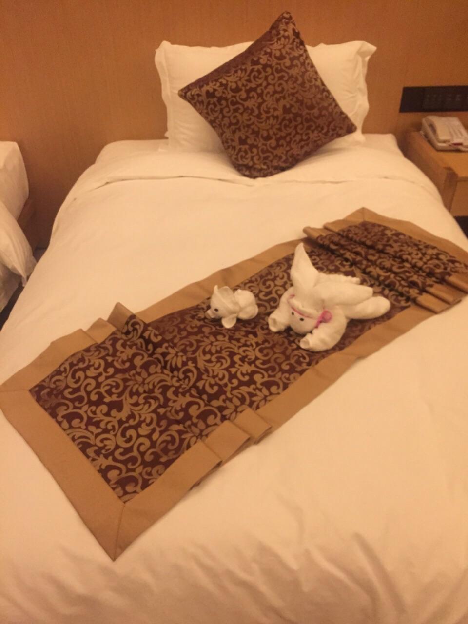 酒店的房间干净卫生,毛巾折叠的小动物超级可爱,另外还赠送宵夜,感到