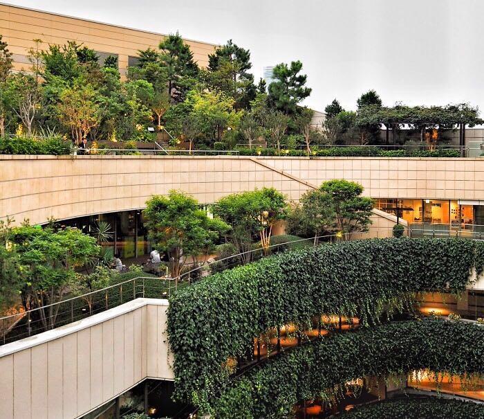 难波公园从街道地平面上升至8层楼的高度,曲径通幽,绿树茵茵.