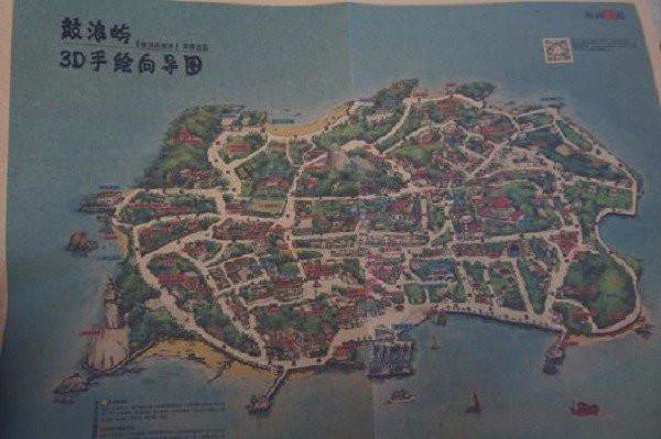 手绘地图也是鼓浪屿的特色,更清晰的表示出几大景点的位置.