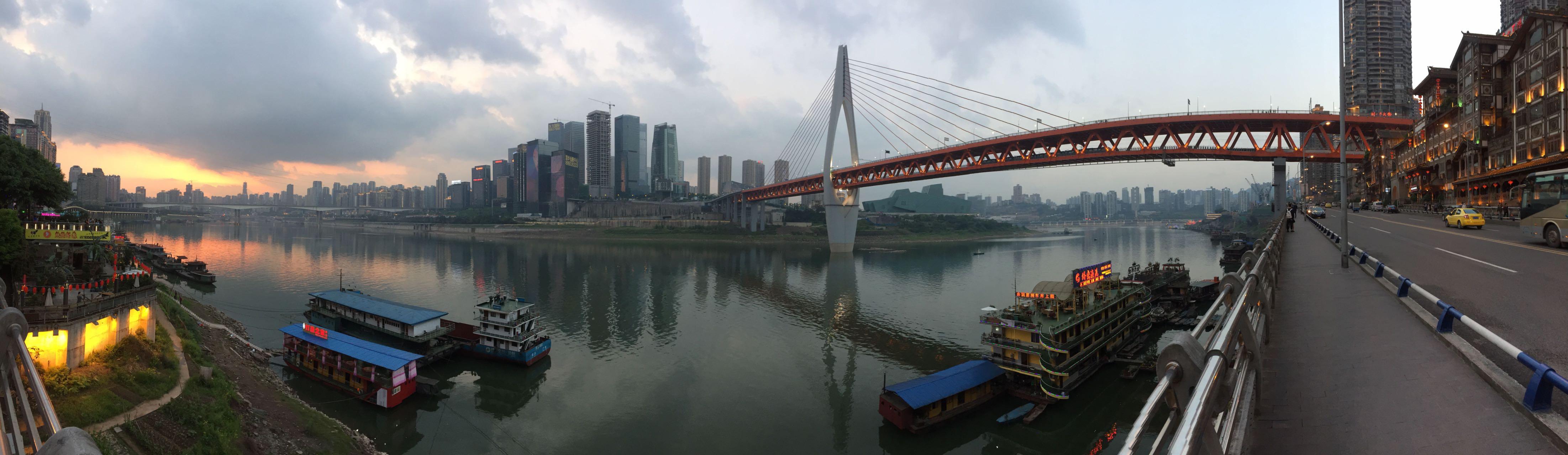 重庆桥景手绘图片