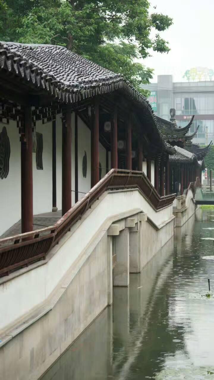 曲水园位于青浦城区,是上海五大古典园林(豫园、古漪园、醉白池、秋霞圃、曲水园)之一,曲水园小巧林珑,但假山、石桥、亭阁、池塘俱全。园内古木茂密、花草葱郁,山墙上披满爬山虎,漫步园中心旷神怡,常能见到老人在此唱曲下棋;园林的东部紧邻环城河,可坐在河边长廊中小憩、享受河畔风光,无限惬意。 曲水园始建于清朝乾隆年间,它紧挨着青浦城隍庙,起初是城隍庙的附属园林,由于屡遭战火而多次兴废,现在的曲水园是在原址上修缮改建而成的。从公元路上的南大门进入,左手边是以建筑为主的西园,这里楼堂华美,有得月轩、有觉堂、夕阳红半楼