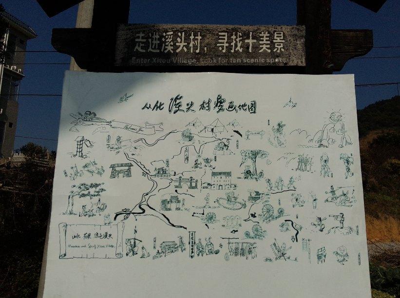 现有溪头村手绘地图