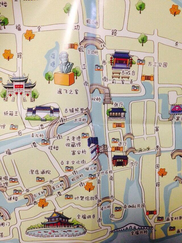 周庄古镇手绘地图
