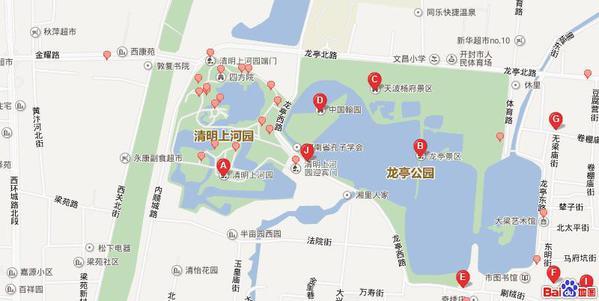 龙亭公园均在一起,包公词,开封府景区在一起,大相国寺也不远,地图上图片