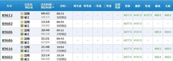 附图:昆明-丽江火车时刻表