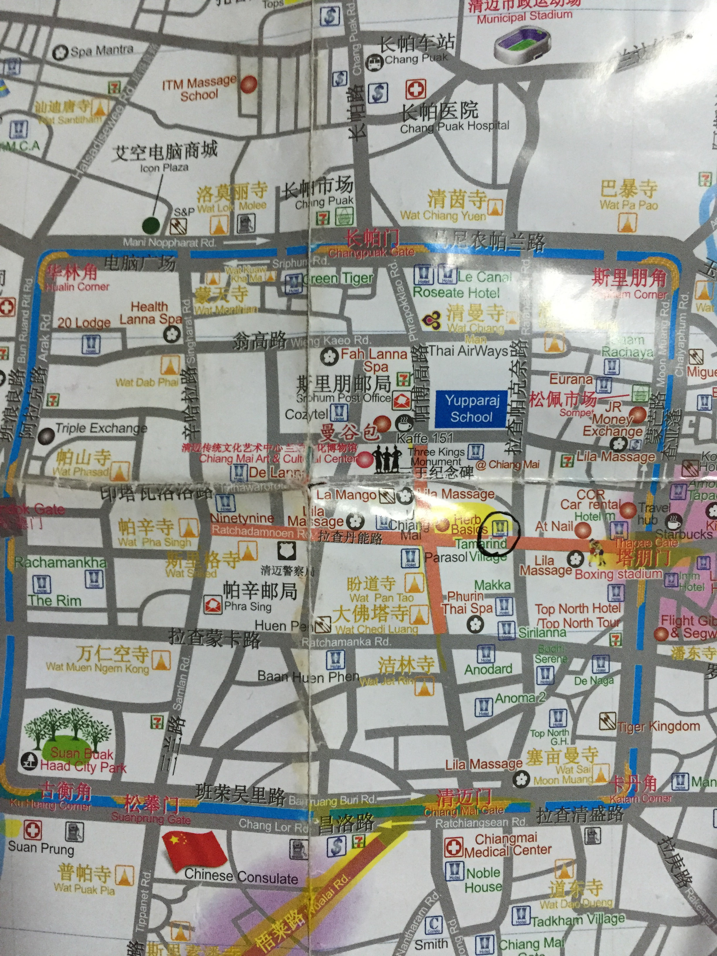 清迈古城手绘地图