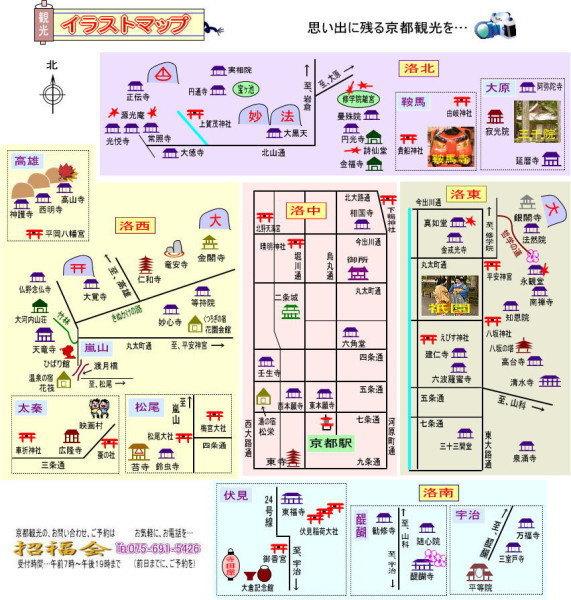 京都主要景点分布图