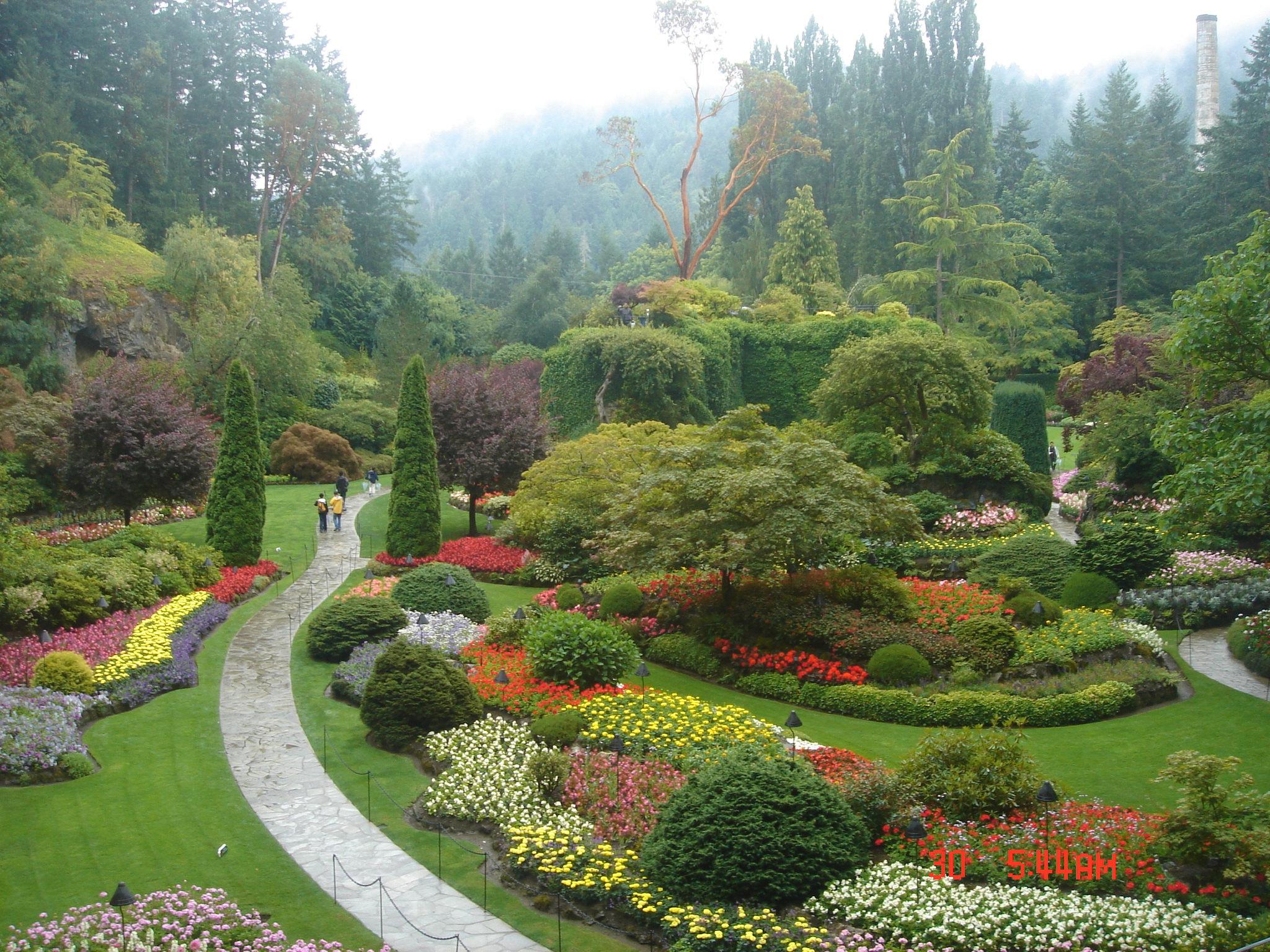 布查特花园是座家族花园,收费景点,票价不便宜,成人30多刀。花园从1904 年开始修建,是世界著名的第二大花园,世界第一据说是迪拜的奇迹花园。花园确实很漂亮,分为好几个部分,还有园中园的日式庭院和玫瑰花园。今年天气有些冷,玫瑰连个芽也没冒,好在其他的花花草草开得花团锦簇。