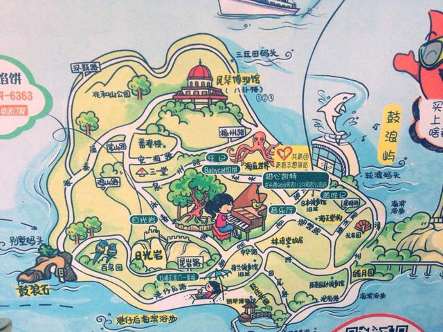 鼓浪屿手绘地图.