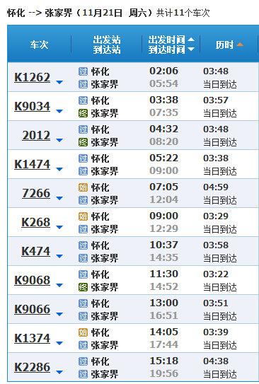 化州到张家界有火车吗