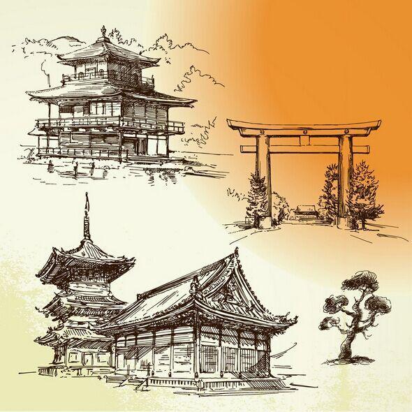 金阁寺手绘稿