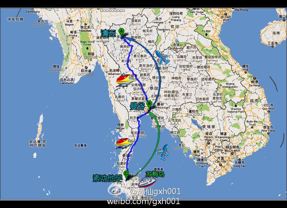 泰国清迈地图手绘版