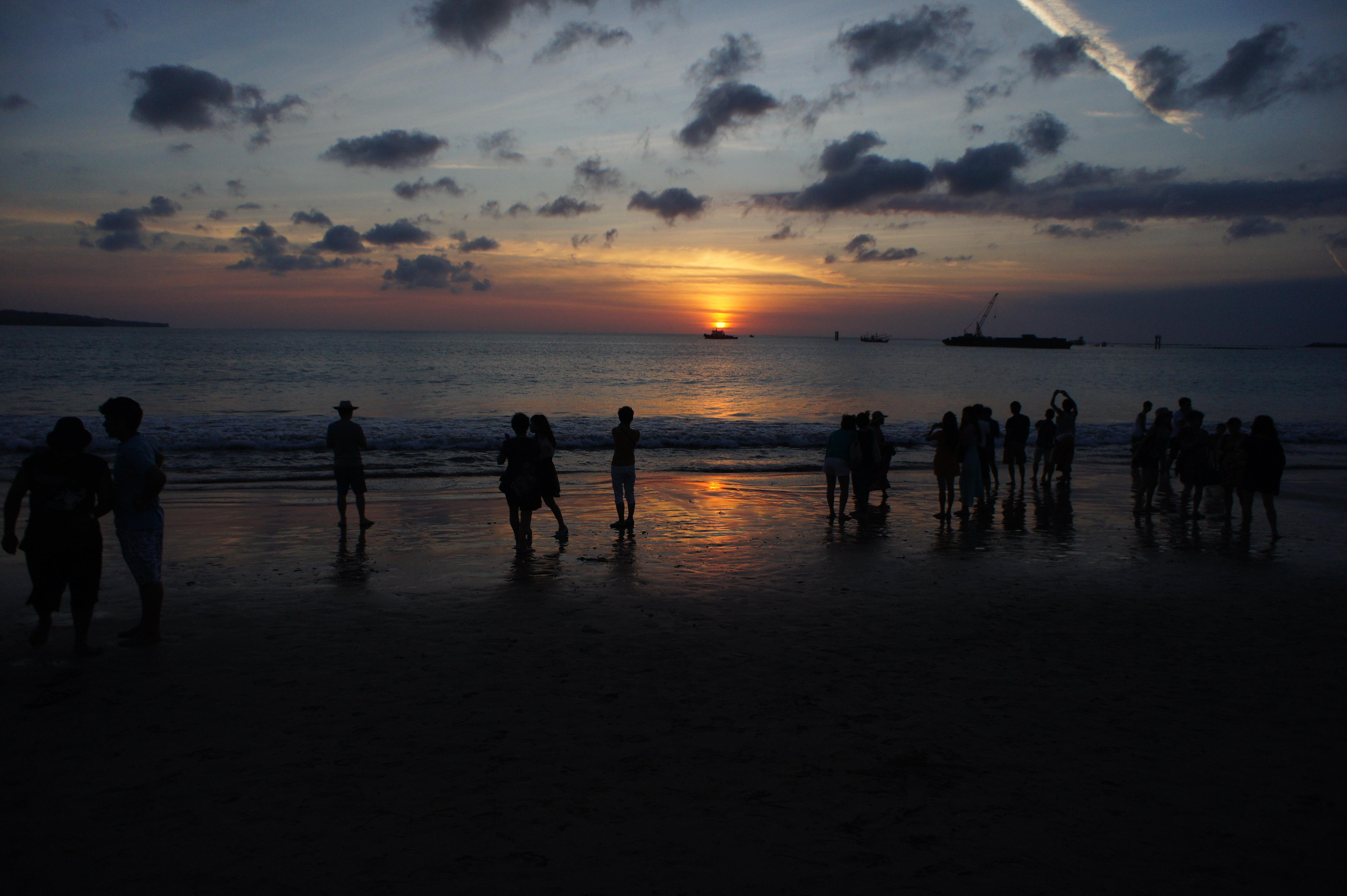 沙滩早霞天空 素材