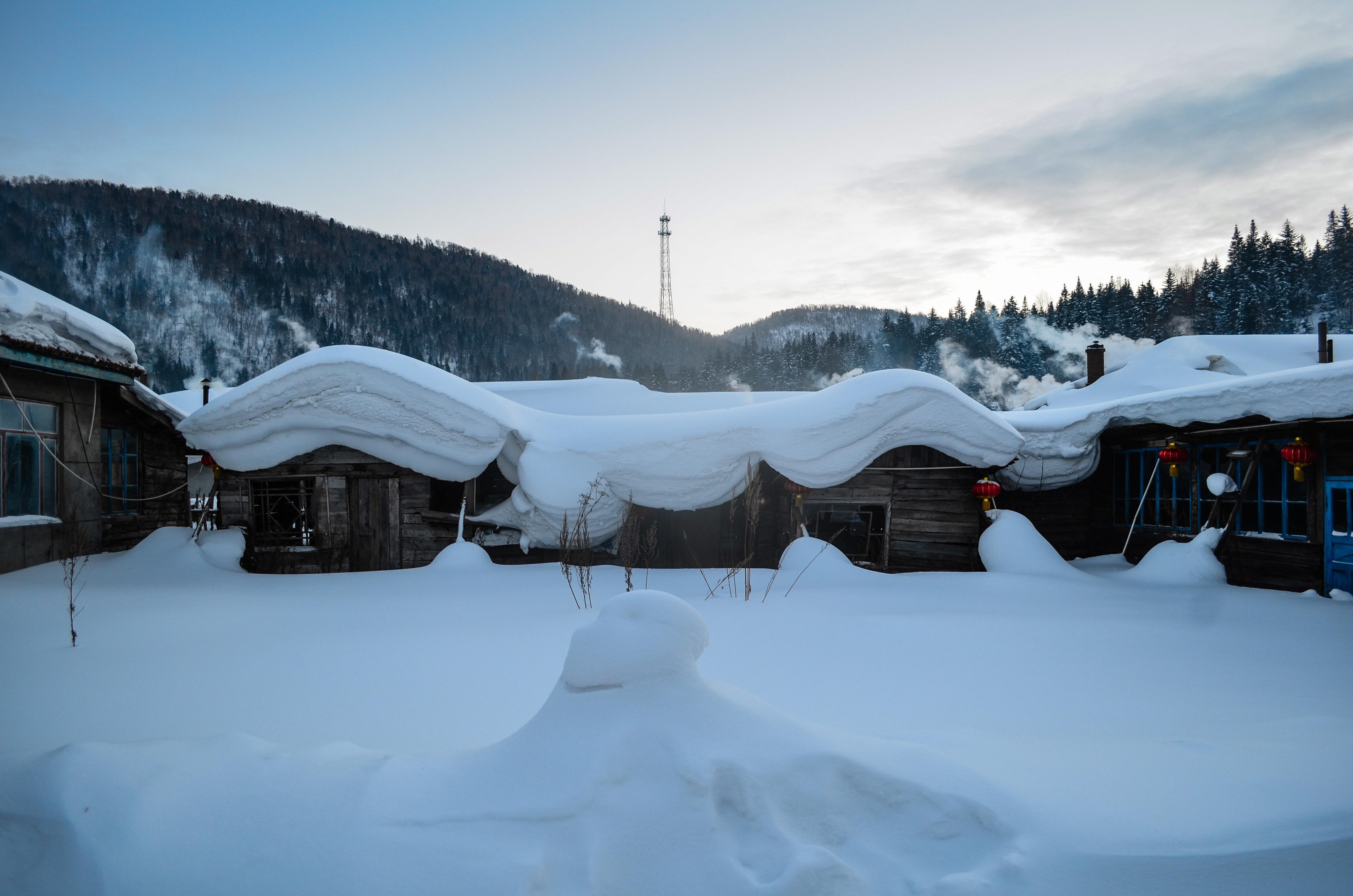 雪乡的平房都顶著可爱的蘑菇头