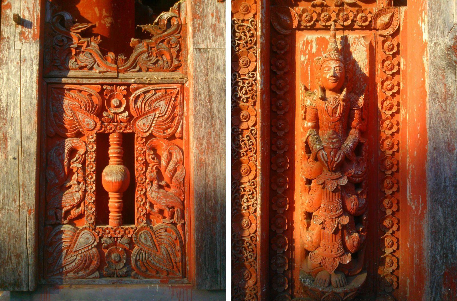 红漆木柱子材质贴图