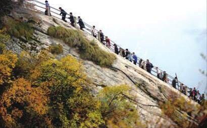2015-08-20 秋天的华山,温度适中,红叶满山,山崖为底,松桧为墨,是登山图片
