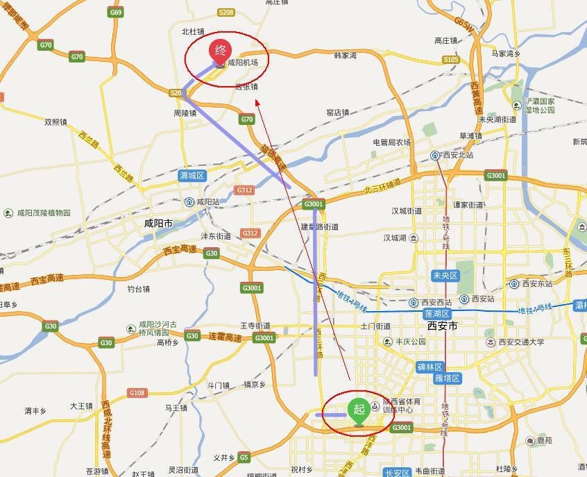 从西安高新区智远假日酒店到咸阳机场有多远