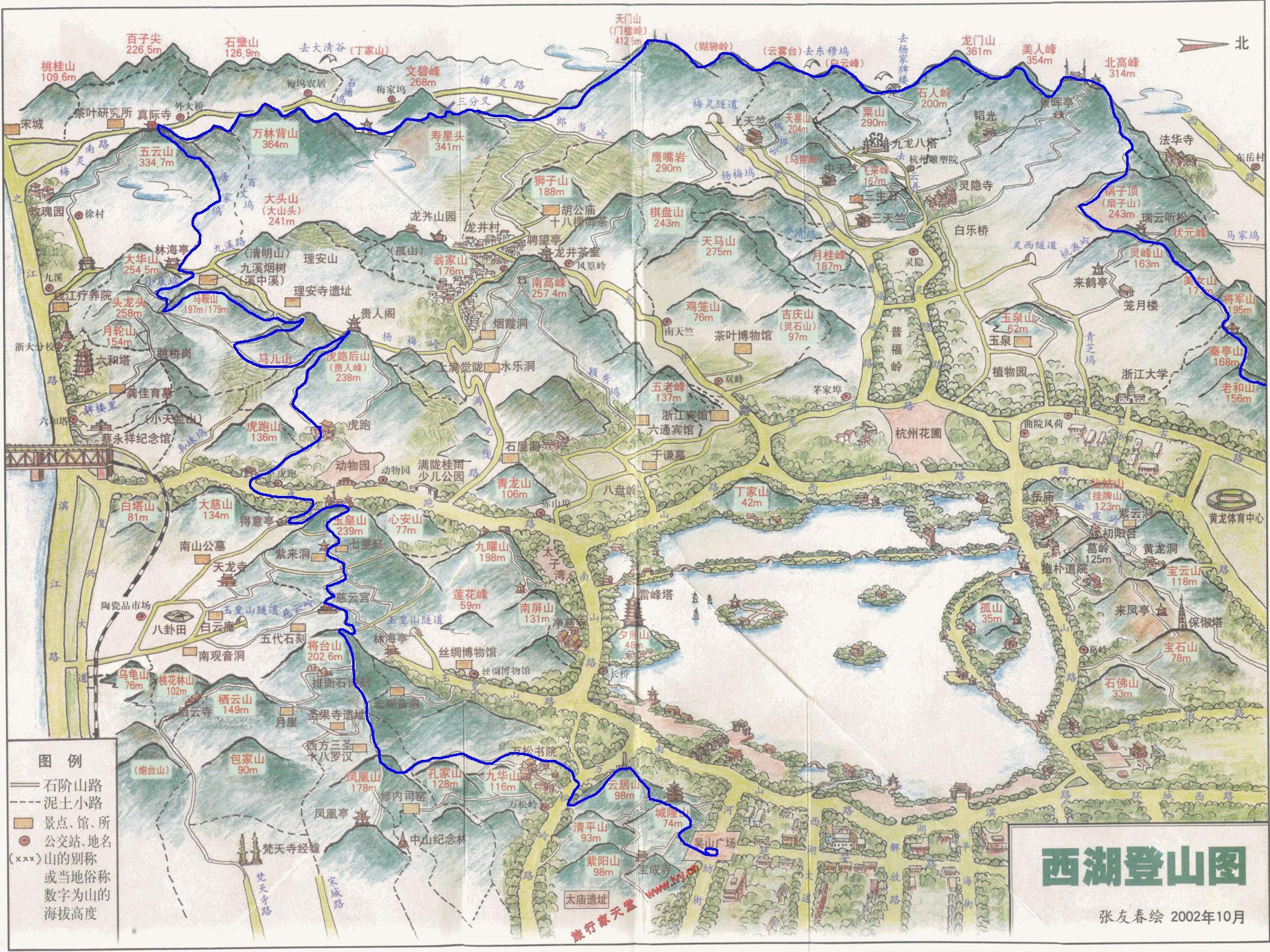 西湖简单手绘抽象地图