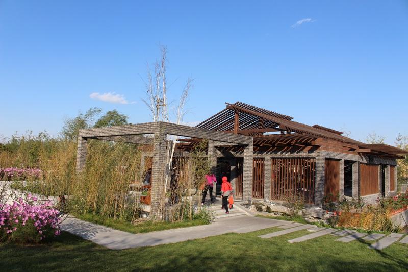 展园内青砖和仿古石板的使用,营造出了古朴的医药文化氛围.