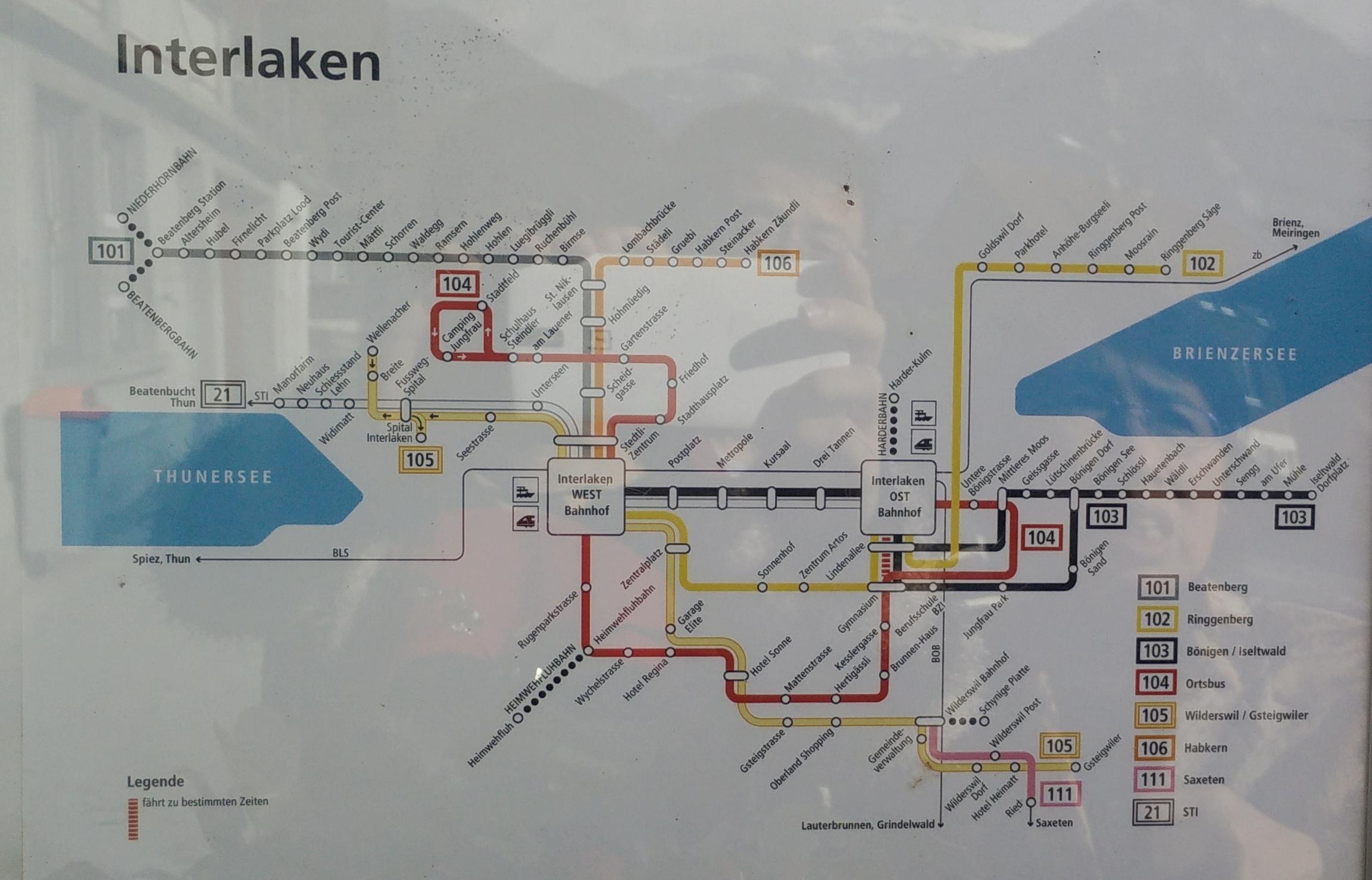 因特拉肯巴士线路图