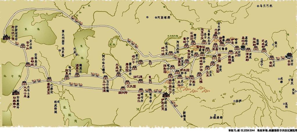 青海丝绸之路手绘地图