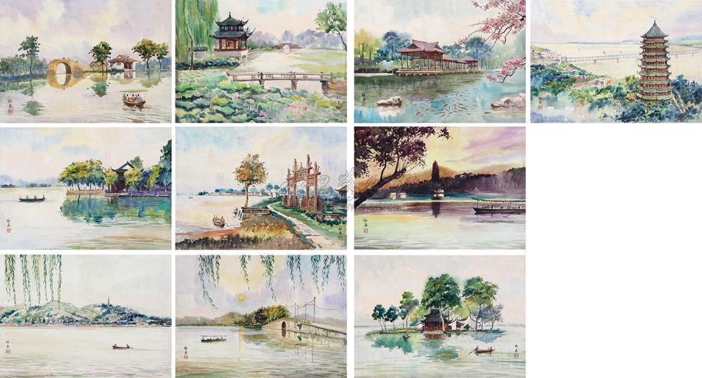 西湖十景图片手绘卡通