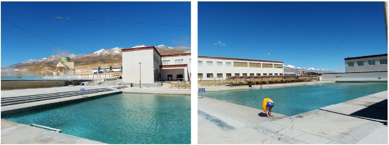 泡温泉分室内游泳池,室外游泳池以及室内4 个小温泉池,建设比较简陋