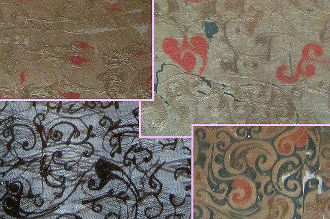 织物的花纹都是汉代特有的各种云龙纹,不知道用什么方法织绣,精巧细腻