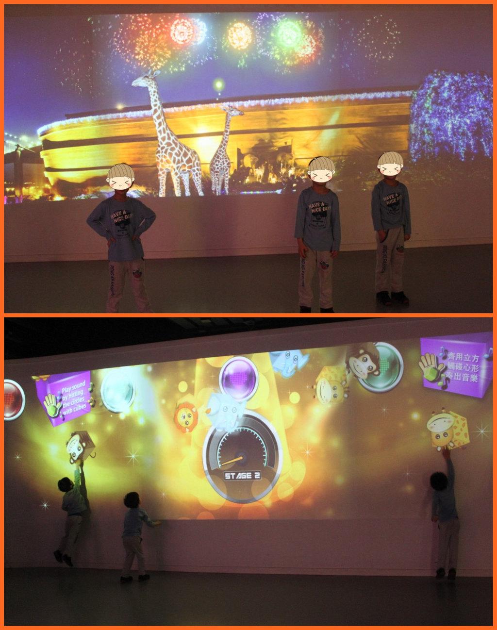 互动多媒体_多媒体互动小游戏,需要头脑跟肢体动作相协调,三个小屁孩玩到不想走