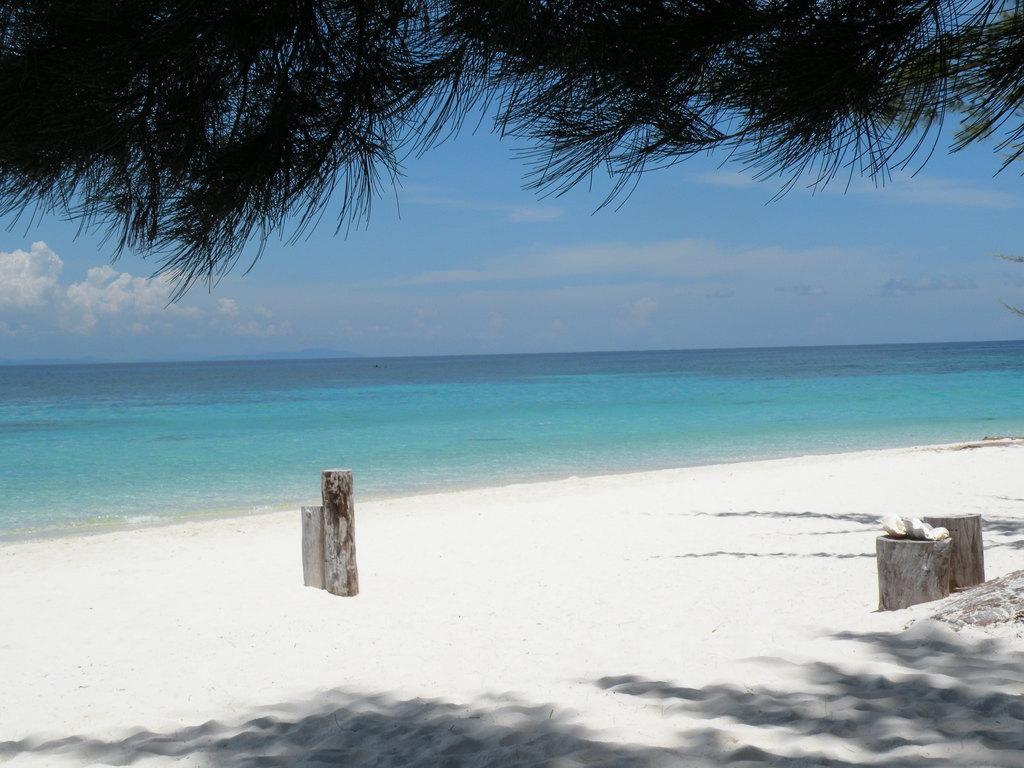 岸边是绵延不断白色的沙滩,热带树木郁郁葱葱,树影婆娑,树下三五人群