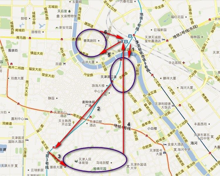 天津周边一日游_天津的攻略,发现火车站周边就有很多景点,因此就自己设计了一条一日游