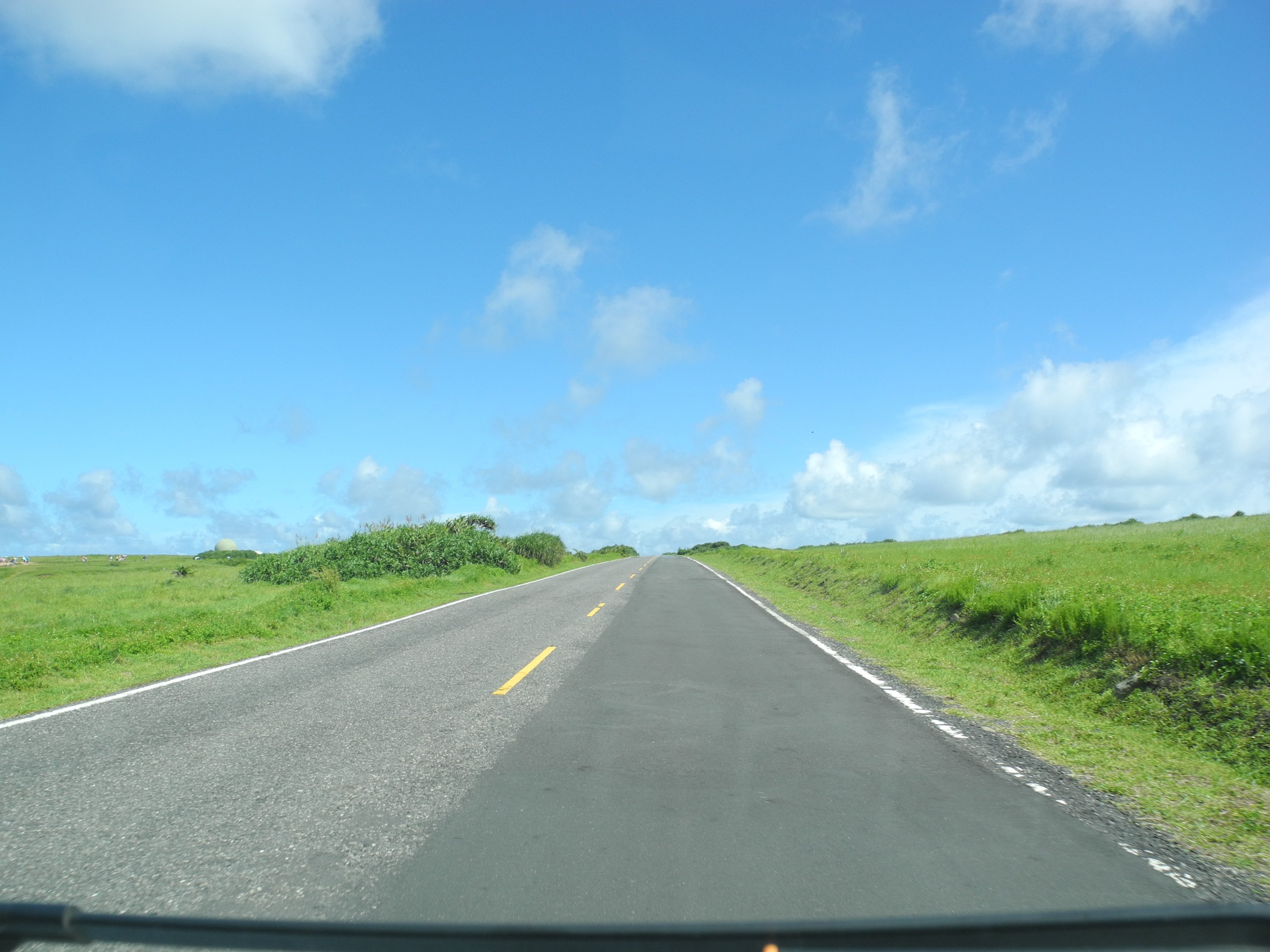 沿路都是蓝天绿地