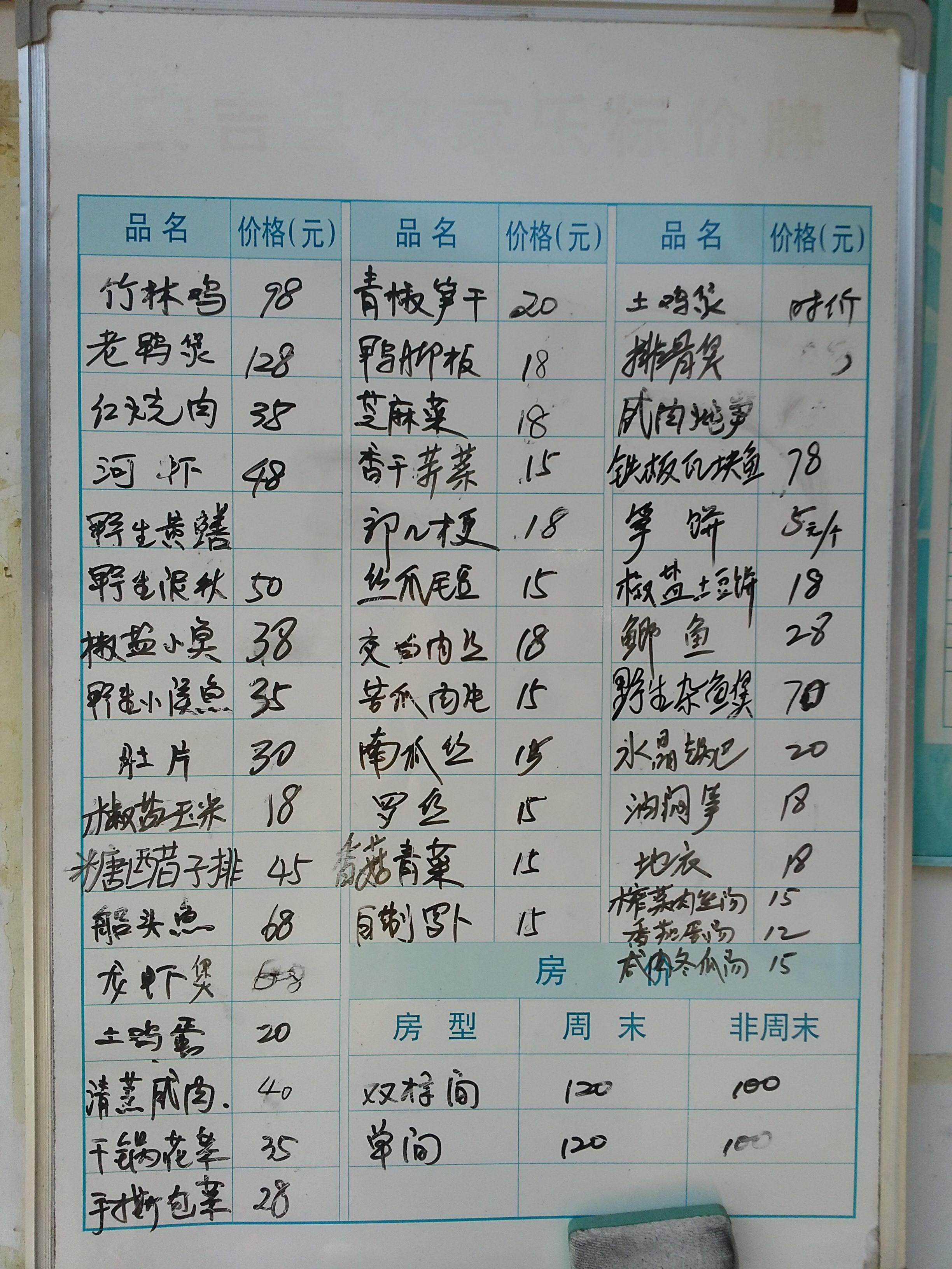 客栈餐厅门口的菜单