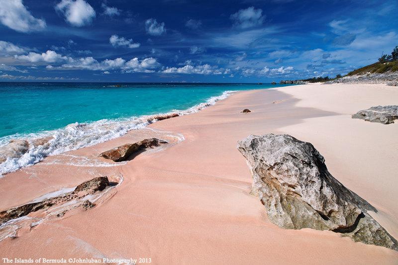 百慕大标志性的粉红色沙滩