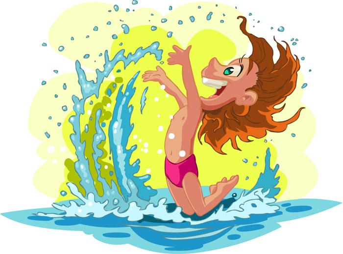 儿童海边玩水画画图片