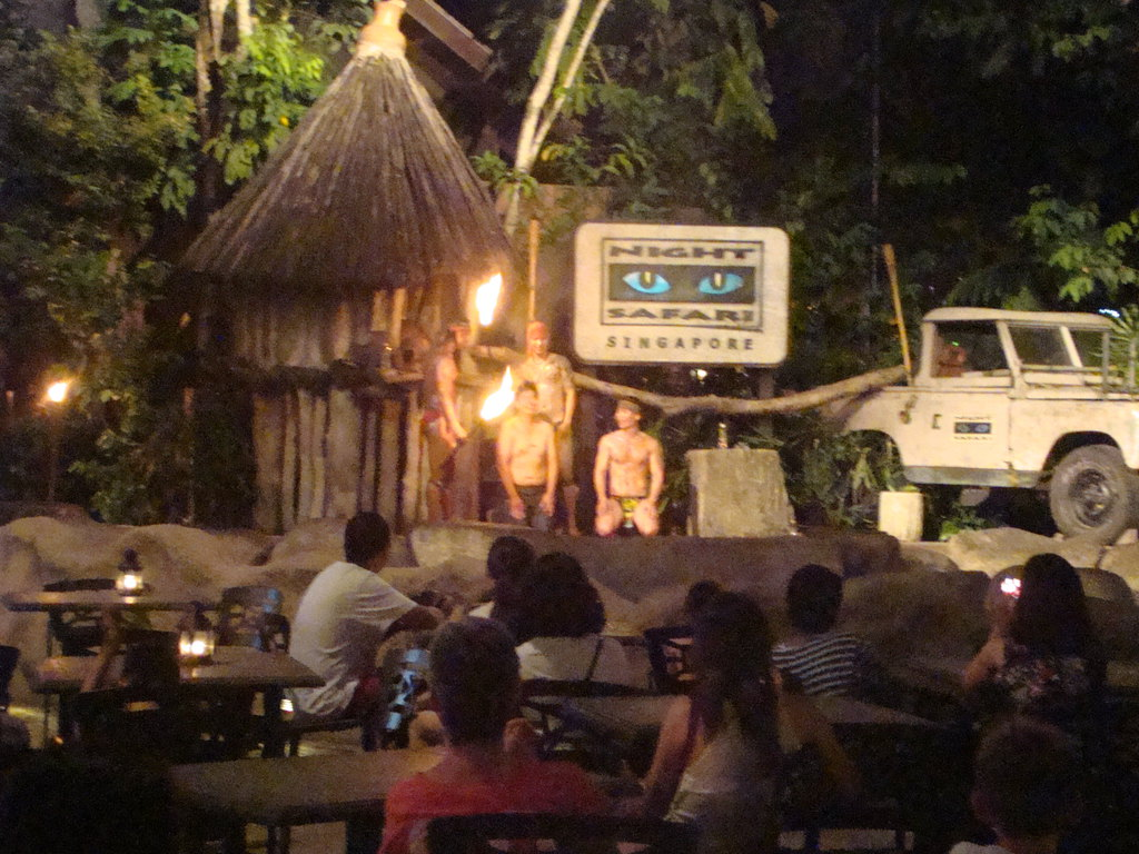 夜间动物园门口的火把表演,肌肉男