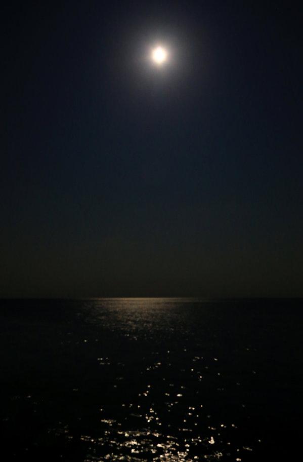 晚上,从海上看月亮,超大超园超亮的月亮,然后就数星星图片