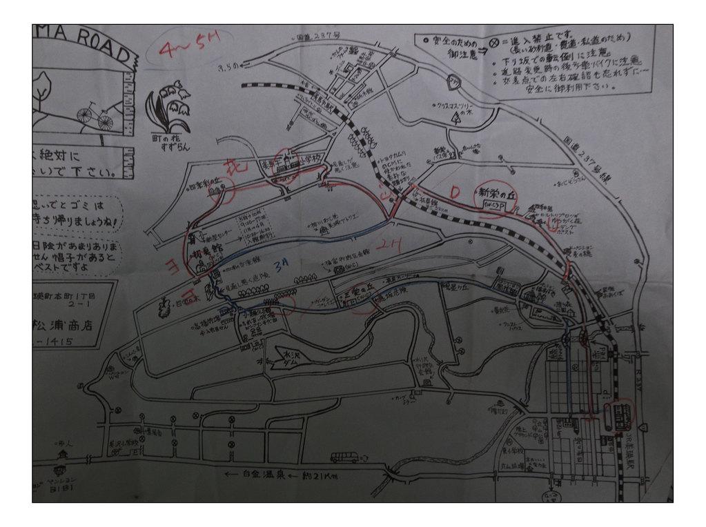 老板会给你手绘地图,并为你画出骑车路线