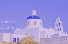 克莱因蓝的世界:圣托里尼岛浪漫海景