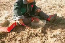 boys like diging earth and using his tools.