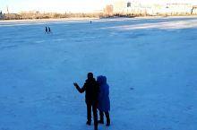 北湖公园 冬日里的天然大冰场
