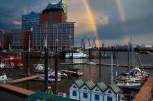 汉堡港上空的双彩虹🌈