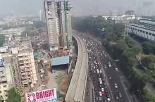 孟买城市主干道航拍,不愧是世界级一线城市