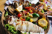 海岛上的餐厅的超级美味海鲜佳肴!