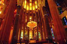 从诞生立面高塔处沿着经典旋转楼梯走下来,到达了圣家堂内的大殿。这里是基督色彩斑斓的宫殿,这里没有欧洲
