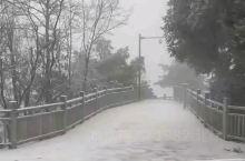 天子山索道广场雪景
