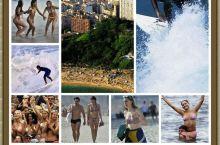 里约人真是特别喜欢阳光沙滩,沙滩上人群涌动,就像去赶集似的。人行道上到处可见光着膀子的男子和三点美女